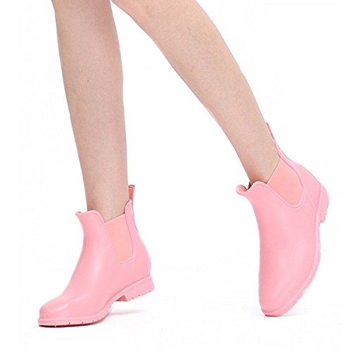 Adult Short Water slip Boots Shoes Wear Rain Thick Non Color UK4 Pink Boots Rubber Female Shoes NAN Boots sleeved EU36 Fashion CN36 Size Women's Rain Pink Pink Shoes Students Water BOvqAW