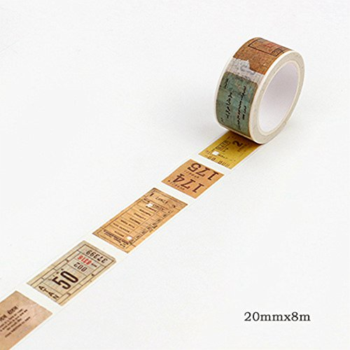 Set Calcomanías Etiqueta adhesiva,Tape Vintage Map Ticket DIY Decorativo Scrapbooking Cinta Adhesiva Cinta adhesiva