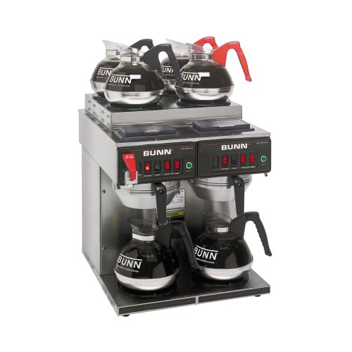 BUNN CWTF 4/2 Twin 12-Cup Automatic Coffee Brewer, Two Brew Heads, Two Lower Warmers, Four Upper Warmers by BUNN