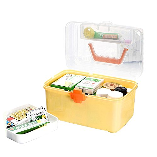 """[YELLOW] Creative Large Portable First Aid Kit Travel Medical Box, 11.8""""x7.3"""""""