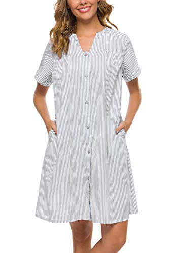 YOZLY Loungewear Womens Lightweight Button Down Duster Short Sleeve Summer House Coat (Light Grey, M)