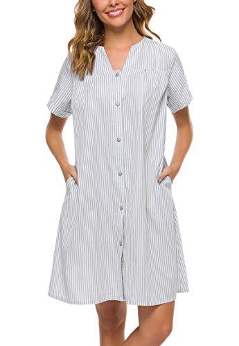 YOZLY Loungewear Womens Lightweight Button Down Duster Short Sleeve Summer House Coat (Light Grey, M)