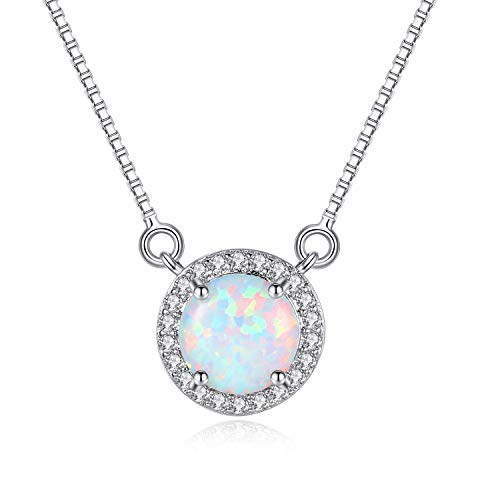 "Sterling Silver Round Cubic Zirconia Inlaid Opal Pendant Necklace for Women 16"" with a 2"" Extender"