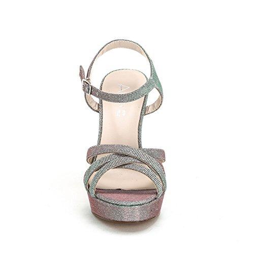 amp;Scarpe con cruzadas 9 y cm ALESYA con de Argento brillantina by Tacones Scarpe altas Sandalias tela aPwwxEUFBW