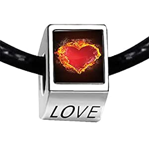 Chicforest Silver Plated Burning Fire Around With Red Heart Photo LOVE Charm Beads Fits Pandora Charm Bracelet