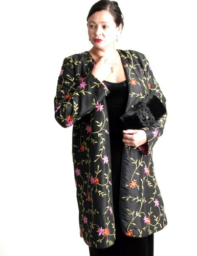 Peggy Lutz Plus Women's Dragon Lady Coat Embroidered and Jeweled Taffeta-XS (14/16)-Black With Brights
