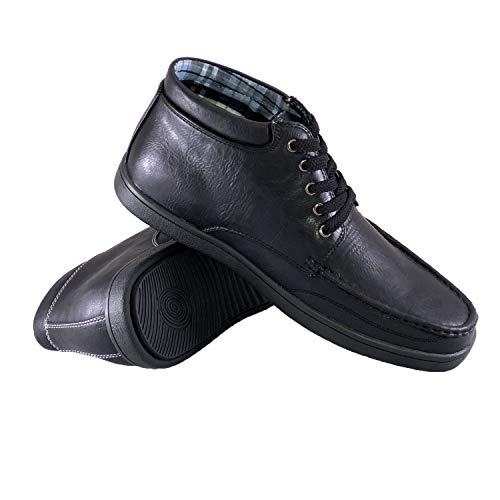 - NUDO Footwear Men's Vegan Leather High Top Lace-up Flat Casual Boots, Black 10 D(M)