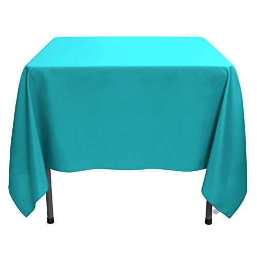 Remedios Square Tablecloth Solid Color Wrinkle-Free Polyester Table Cloth for Indoor and Outdoor Wedding Party Restaurant Banquet Home Dinner (Caribbean, 85x85)