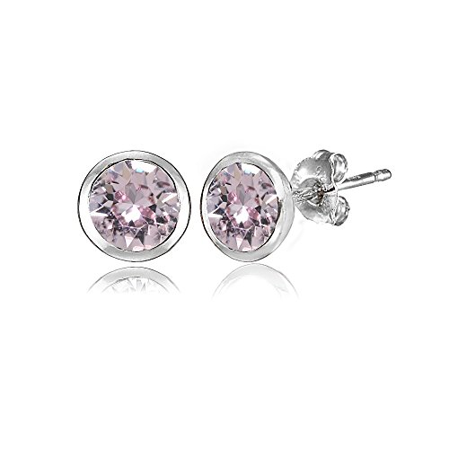 - Sterling Silver 5mm Bezel-set Martini Pink Stud Earrings created with Swarovski Crystals