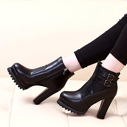Botas Cabeza de Nuevo All KHSKX Martin tacón Coreano con alto botas Zapatos Botas de corta negra cilindro impermeables gruesas Match ZaqwOq