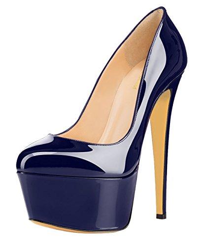 fast charm Womens Round Toe Waterproof Platform Large Size Stiletto High Heels Shoes Pumps Dark Blue lpR0N