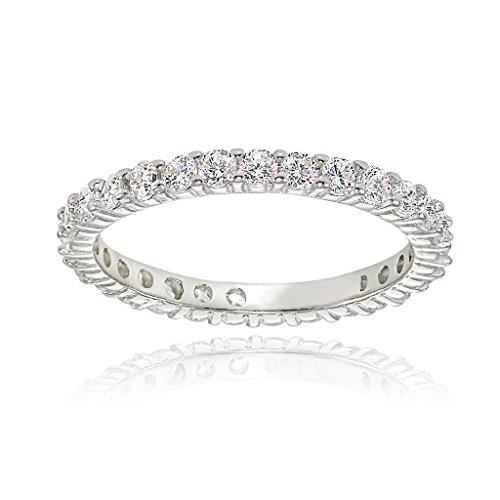 Sterling Silver Cubic Zirconia 2mm Round-cut Eternity Band Ring