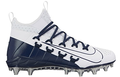 Nike Men's Alpha Huarache 6 Elite Lacrosse Cleats (11, White/Navy) (Nike Cleats Huarache Lacrosse)