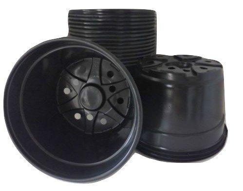8'' Mum Pot - Black Plastic - 25 Count - Landmark Plastics - Nursery Pot by Landmark Plastics