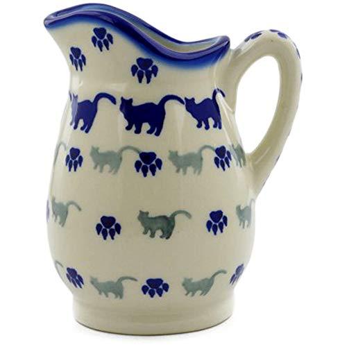 Polish Pottery 11 Ounce Pitcher Creamer - Milk Cream Hot Fudge - Kitty Boo Boo (Pitchers Kitten)