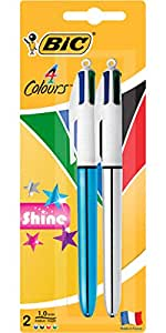 BIC 4 Colours Shine Retractable Ball Pens Medium Point (1.0 mm) - Blue and Silver Bodies, Pack of 2