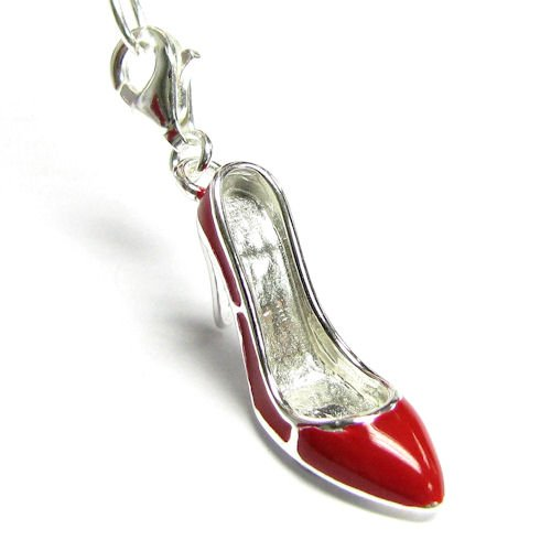 Sterling Silver Ruby Red Enamel Slipper High Heel Shoe 3d Dangle Charm Pendant For European Style Clip On Charm W/ Lobster Clasp