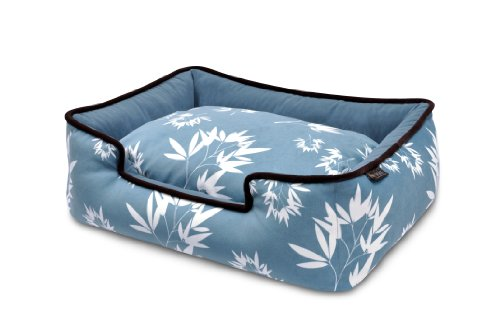 Play Pet Bamboo Dog Lounge Bed (Ocean Blue/Gothic Black, Small)