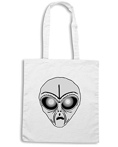 T-Shirtshock - Bolsa para la compra FUN0547 alien head sticker 9 31423 Blanco