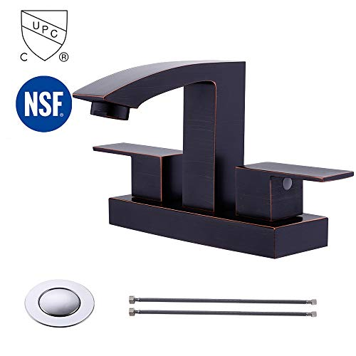 KES cUPC NSF Certified BRASS Two Handle Bathroom Faucet with Drain Assembly Lavatory Vanity Sink Faucet 4-Inch Centerset Morden Square Hotel Style Oil Rubbed Bronze, L4101BLF-ORB (Lever C-spout Faucet Bar)