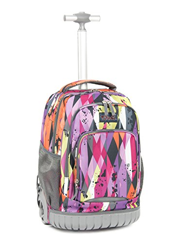 Tilami New Antifouling Design 18 Inch Oversized Load Multi-Compartment Wheeled Rolling Backpack Luggage for Kids (Purple Stripes)