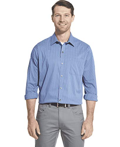 Van Heusen Men's Traveler Stretch Long Sleeve Button Down Blue/White/Purple Shirt, Ultramarine, Large ()