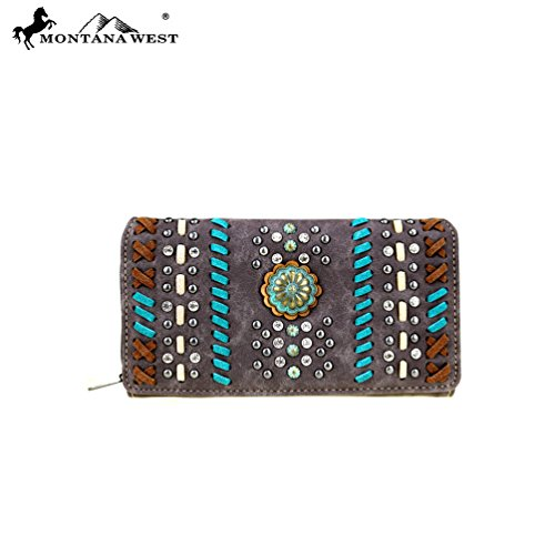 MW411-W010 Montana West Concho Collection Secretary Style Wallet-Coffee