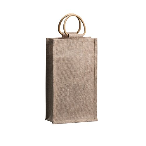 (Eco-friendly Jute Wine Bottle Tote With Cane Handles For 2 Bottles, Natural Jute Color - Medium)