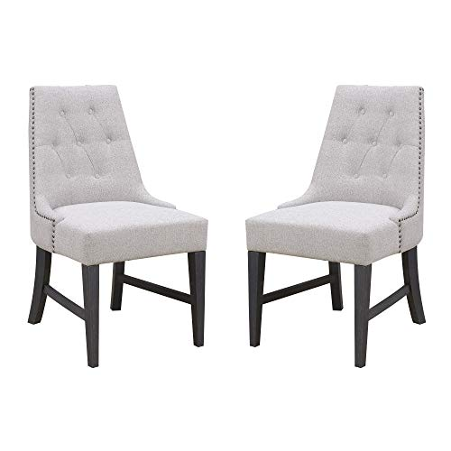 Edgewood Upholstered Dining Chair in Husky Gray with Button Tufting And Nailhead Trim, Set of Two, by Artum Hill