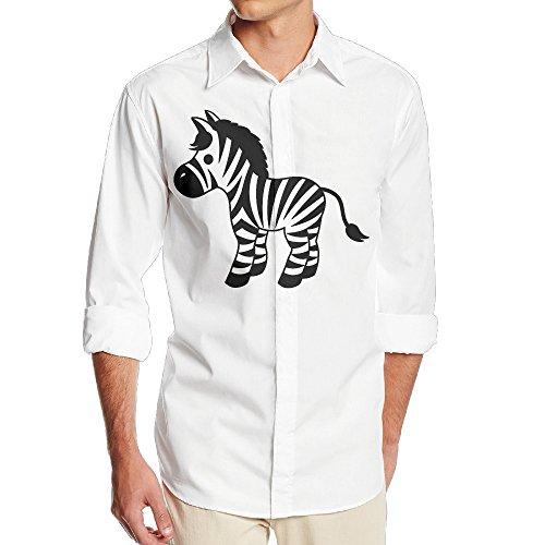 DonSir Funny Horse Zebra Print Men's Long Sleeve ComfortSoft T-shirt S White -