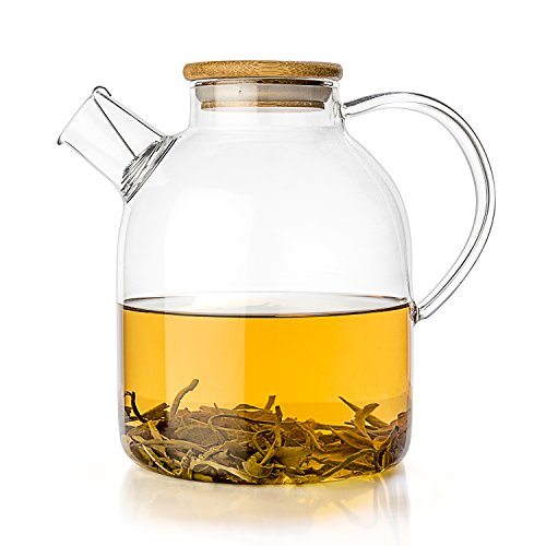 Tealyra - Glass Kettle 60-ounce - Stove-top Safe - Heat Resistant Borosilicate - Pitcher - Carafe - Teapot - No-Dripping - Great For Tea Juice Water - Hot and Iced - Bamboo Lid - Filter Spout - 1800ml