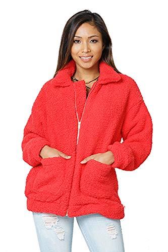 Carprinass Women's Winter Fur Coat Faux Lambswool Teddy Bear Warm Jacket Black M
