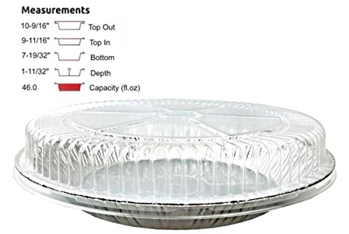 Pactogo 11'' Aluminum Foil Pie Pan Extra-Deep Disposable Tin Plates with Clear Plastic Dome Lid (Pack of 100 Sets) by PACTOGO