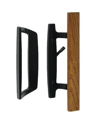 "Bali Nai Sliding Glass Door Handle Set with Oak Wood Pull, Standard 3-15/16"" CTC Screw Holes"