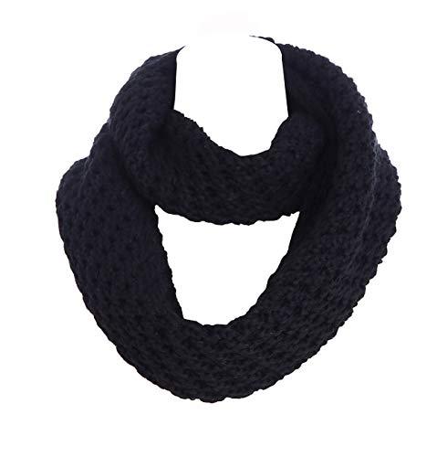 EDINSY Women Winter Knit Infinity Scarf Fashion Circle Loop Scarves Thick Warm Black