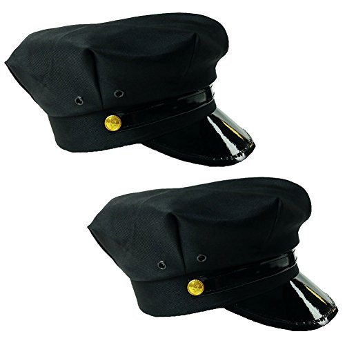 [Black Chauffeur Limo Driver Costume Hats (2 Pack)] (Funny Uniform Costumes)