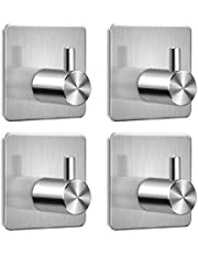Self Adhesive Hooks,Kitchen Bathrooms Robe Hooks,Towel Stands Sticky Wall Hook,Toilet Waterproof and Rust-Proof Bath Towel Hooks by Aeegulle (4 Pieces U)