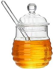 GuDoQi Glass Honey Pot with Dipper, Honey Jars with Lids and Honey Stick, 250ml Honey Dispenser Glass Container