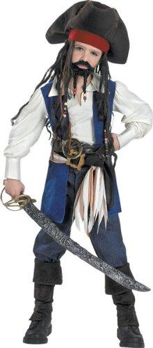 Pirates of the Caribbean 2 Captain Jack Sparrow Costume Dlx Boy - Child Large -