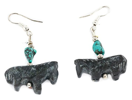 Native-Bay Carved Fetish Horse Authentic Made by Charlene Little Navajo Silver Hooks Natural Turquoise Jet Dangle American Earrings