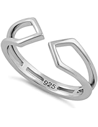 STERLING SILVER QUADRILATERAL KITES THUMB,INDEX FINGER AND ADJUSTABLE TOE RING - (SIZE 3-13)