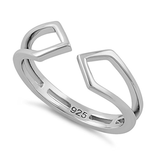 ilver Quadrilateral Kites Thumb,Index Finger Adjustable Toe Ring - (Size 3-13) (Sterling-Silver, 13) ()