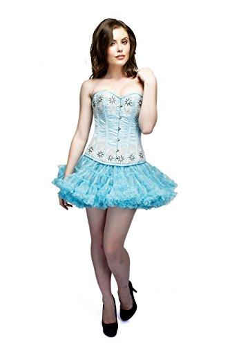 郵便局郵便局ライムBaby Blue Satin Silver Sequins Goth Burlesque Waist Training Overbust Corset Top