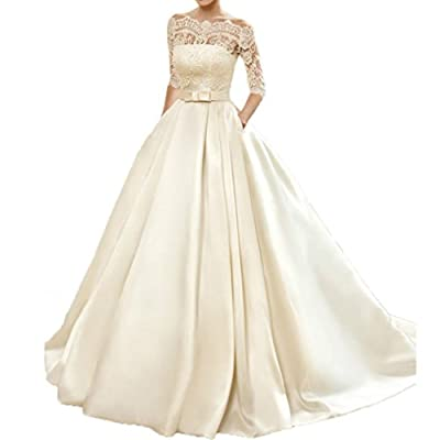 VEPYCLY Women's Lace Wedding Dress 3/4 Sleeves Sweep Train Satin Bridal Gown