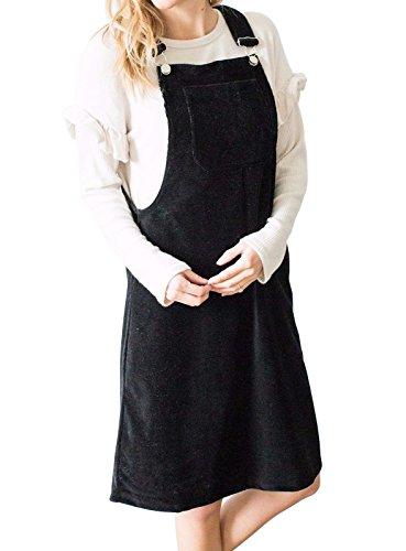Karlywindow Womens Corduroy Overalls Adjustable Strap Suspender Bib Knee Length Midi Dress (Length Knee Bib)