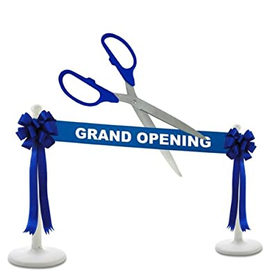 """Deluxe Grand Opening Kit - 25"""" Silver Ceremonial Ribbon Cutting Scissors with 5 Yards of 6"""" Grand Opening Ribbon, 2 Bows and 2 White Plastic Stanchions"""