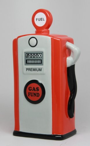 PTC Pacific Giftware Ceramic Gas Pump Savings Piggy/Coin/Money Bank, Red