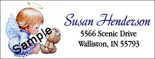 tkniftylabel Angel and Teddy Bear #1 Laser Printed Return Address Labels