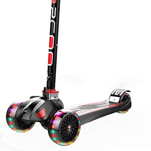 ZAQ 3 Wheel Scooter for Toddlers 2yr Old, Black Foldable Scooters Board with Handles for Kids Boys -
