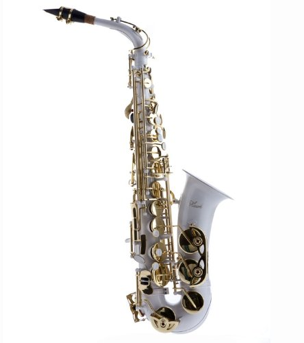 Hawk WD-S416-WT Student Alto Saxophone with Case, Mouthpiece and Reed, White by Hawk